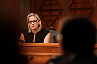 United States Senator Kirsten Sinema (Democrat of Arizona) questions witnesses during the US Senate Committee on Homeland Security and Government Affairs hearing on April 9, 2019.<br /> Credit: Stefani Reynolds / CNP/AdMedia