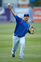 South Bend Cubs starting pitcher Javier Assad (30) warms up in the outfield prior to the game against the West Michigan Whitecaps at Fifth Third Ballpark on June 10, 2018 in Comstock Park, Michigan. The Cubs defeated the Whitecaps 5-4.  (Brian Westerholt/Four Seam Images)