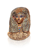 Ancient Egyptian cartonnage funerary mask of Merit - tomb of Kha, Theban Tomb 8 , mid-18th dynasty (1550 to 1292 BC), Turin Egyptian Museum.  white background.<br /> <br /> this exquisite guilded catonnage was placed over the head of the mummy of Merit.