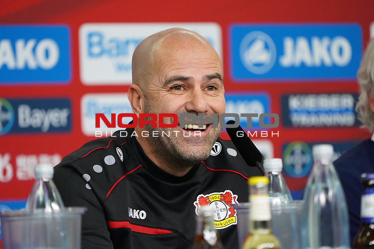 04.01.2019, BayArena, Leverkusen, GER, 1. FBL,  Bayer 04 Leverkusen PK Trainerwechsel,<br />  <br /> DFL regulations prohibit any use of photographs as image sequences and/or quasi-video<br /> <br /> im Bild / picture shows: <br /> erste Pressekonferenz von Peter Bosz Trainer / Headcoach (Bayer 04 Leverkusen),<br /> <br /> Foto © nordphoto / Meuter