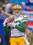 14 December 2014: Green Bay Packers free safety Micah Hyde warms up prior to facing the Buffalo Bills at Ralph Wilson Stadium in Orchard Park, NY. The Bills defeated the Packers 21-13, snapping the Packers' 5-game winning streak and keeping the Bills' 2014 playoff hopes alive. Mandatory Credit: Ed Wolfstein Photo *** RAW (NEF) Image File Available ***