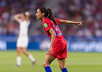 LYON,  - JULY 2: Christen Press #23 yells to a teammate during a game between England and USWNT at Stade de Lyon on July 2, 2019 in Lyon, France.
