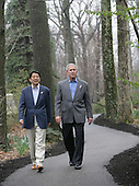 United States President George W. Bush walks with Prime Minister Shinzo Abe of Japan during their meeting Friday, April 27, 2007, at Camp David, the Presidential retreat near Thurmont, Maryland.  .Mandatory Credit: Eric Draper / White House via CNP
