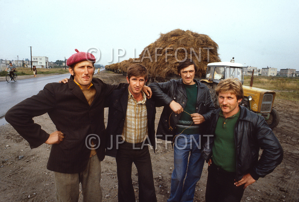 Poland, September, 1981 - Farmers collect the flax crop in the Torun area.