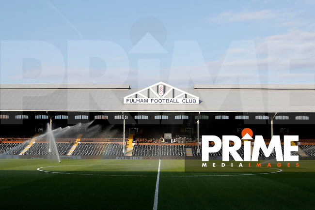 A rainbow sprouts on the pitch during the Sky Bet Championship play off semi final 2nd leg match between Fulham and Derby County at Craven Cottage, London, England on 15 May 2018. Photo by Carlton Myrie / PRiME Media Images.
