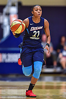 Washington, DC - August 31, 2018: Atlanta Dream guard Renee Montgomery (21) brings the ball up court during semi finals playoff game between Atlanta Dream and Wasington Mystics at the Charles Smith Center at George Washington University in Washington, DC. (Photo by Phil Peters/Media Images International)