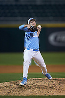 North Carolina Tar Heels relief pitcher Caden O'Brien (34) in action against the Charlotte 49ers at BB&T BallPark on March 27, 2018 in Charlotte, North Carolina. The Tar Heels defeated the 49ers 14-2. (Brian Westerholt/Four Seam Images)