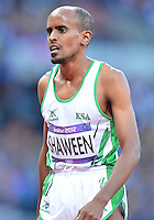 August 05, 2012..Mohammed Shaween reacts at the conclusion of Men's 1550m Semifinal event at the Olympic Stadium on day nine of 2012 Olympic Games in London, United Kingdom.