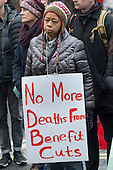 Vigil for Lawrence Bond, who died after being found fit for work and losing his disability benefits, Kentish Town Jobcentre London.
