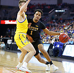 SIOUX FALLS, SD - MARCH 7: IPFW Mastodons guard Jarred Godfrey #1 drives to the basket against South Dakota State Jackrabbits guard Noah Freidel #11 at the 2020 Summit League Basketball Championship in Sioux Falls, SD. (Photo by Richard Carlson/Inertia)