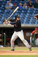 Tampa Yankees catcher Kyle Higashioka (25) at bat during a game against the Clearwater Threshers on April 21, 2015 at Bright House Field in Clearwater, Florida.  Clearwater defeated Tampa 3-0.  (Mike Janes/Four Seam Images)