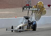 Apr. 7, 2013; Las Vegas, NV, USA: NHRA top fuel dragster driver Tony Schumacher during the Summitracing.com Nationals at the Strip at Las Vegas Motor Speedway. Mandatory Credit: Mark J. Rebilas-
