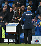 Amy MacDonald makes the half-time draw at Ibrox