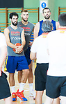 (L to R) Javier Beiran, Willy Hernan Gomez and Marc Gasol during the training of Spanish National Team of Basketball in Madrid previous to World Cup in China . August 21, 2019. (ALTERPHOTOS/Francis González)