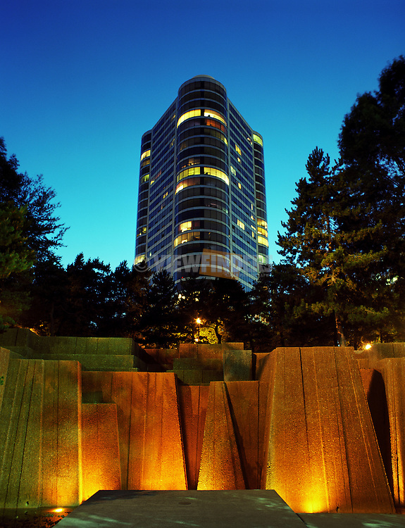 The Portland Plaza overlooking the Ira Keller Fountain in downtown Portland at dusk.