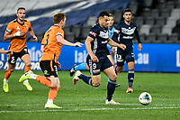 29th July 2020; Bankwest Stadium, Parramatta, New South Wales, Australia; A League Football, Melbourne Victory versus Brisbane Roar; Andrew Nabbout of Melbourne Victory runs at Corey Brown of Brisbane Roar