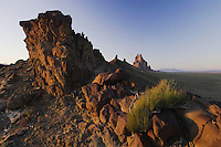 Shiprock at sunset Volcanic Plug, Shiprock, New Mexico, USA, September 2007