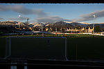 Alloa Athletic 0 Peterhead 1,14/01/2017. Recreation Park, Scottish League One. Alloa Athletic take on Peterhead (in blue) in a Scottish League One fixture at Recreation Park, with the Ochil Hills in the background. The club was formed in 1878 as Clackmannan County, changing the name to Alloa Athletic in 1883. The visitors won the match by one goal to nil, watched by a crowd of 504. Photo by Colin McPherson.