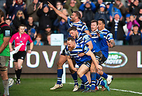 Ross Batty of Bath Rugby celebrates his second half try with team-mates. Gallagher Premiership match, between Bath Rugby and Harlequins on March 2, 2019 at the Recreation Ground in Bath, England. Photo by: Patrick Khachfe / Onside Images