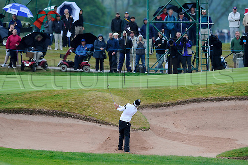 05.06.2011 Day four of the SAAB Wales Open Golf from Celtic Manor. Victor DUBUISSON (FRA) plays from a bunker on the 1st during the fourth and final round on the Twenty Ten course.