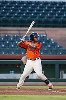 AZL Giants first baseman Nathanael Javier (47) at bat against the AZL Athletics on August 5, 2017 at Scottsdale Stadium in Scottsdale, Arizona. AZL Athletics defeated the AZL Giants 2-1. (Zachary Lucy/Four Seam Images)