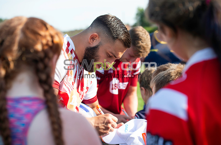 Picture by Allan McKenzie/SWpix.com - 25/07/2018 - Rugby League - Dacia Flair Play - New Spring Lions & Ince Rose Bridge RLFC, Ince-in-Makerfield, England - Romain Navarrete signs autographs.