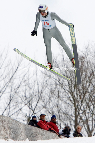 SALISBURY CT. 08 February 2014-020914SV17-#75 Spencer Knickerbocker makes a jump during the Eastern United States Ski Jumping Championships in Salisbury Sunday.<br /> Steven Valenti Republican-American
