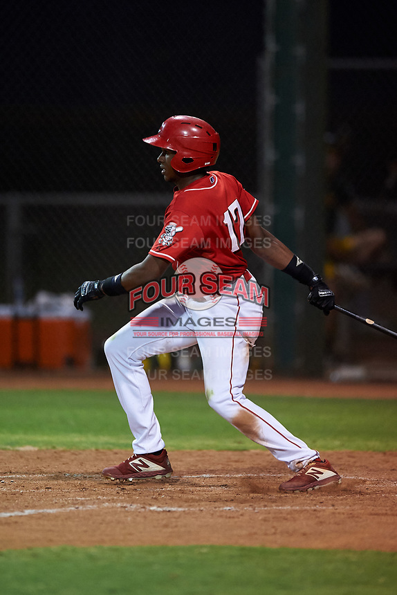 AZL Reds Fidel Castro (17) at bat during an Arizona League game against the AZL Athletics Green on July 21, 2019 at the Cincinnati Reds Spring Training Complex in Goodyear, Arizona. The AZL Reds defeated the AZL Athletics Green 8-6. (Zachary Lucy/Four Seam Images)