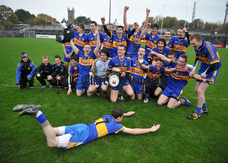Newmarket  players including a sliding Liam Glenny celebrate the win over Sixmilebridge in their Minor A county final at Cusack Park. Photograph by John Kelly..