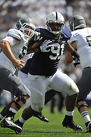 07 September 2013:  Penn State DT DaQuan Jones (91) rushes in before sacking the QB. The Penn State Nittany Lions defeated the Eastern Michigan Eagles 45-7 at Beaver Stadium in State College, PA.