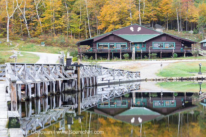 Crawford Notch State Park - Reflection along the Saco River at the Willey House Historical Site in the White Mountains, New Hampshire USA during the autumn months