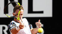 L'italiano Filippo Volandri in azione nel corso degli Internazionali d'Italia di tennis a Roma, 10 maggio 2016.<br />  Italy's Filippo Volandri returns the ball to Spain's David Ferrer during the Italian Open tennis tournament, in Rome, 10 May 2016.<br /> UPDATE IMAGES PRESS/Isabella Bonotto