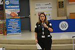 Nine schools competed in the Dream On Steam On student showcase at Northside HS, thanks to support from Capital One. Northside Principal Julissa Alcantar-Martinez welcomes everyone.
