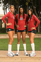 STANFORD, CA - AUGUST 12:  2007 All-Americans Alix Klineman (10), Foluke Akinradewo (16) and Cynthia Barboza (1) of the Stanford Cardinal during picture day on August 12, 2008 at Arrillaga Plaza in Stanford, California.