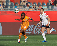 Moncton, New Brunswick - June 15, 2015: In a FIFA Women's World Cup Canada 2015 Group B match, Norway (white/blue) defeated Cote d'Ivorie (orange), 3-1, at Moncton Stadium.