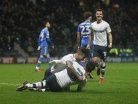 Preston North End's Alan Browne celebrates scoring his sides third goal  as he lies injured<br /> <br /> Photographer Mick Walker/CameraSport<br /> <br /> The EFL Sky Bet Championship - Preston North End v Leeds United - Tuesday 10th April 2018 - Deepdale Stadium - Preston<br /> <br /> World Copyright &copy; 2018 CameraSport. All rights reserved. 43 Linden Ave. Countesthorpe. Leicester. England. LE8 5PG - Tel: +44 (0) 116 277 4147 - admin@camerasport.com - www.camerasport.com