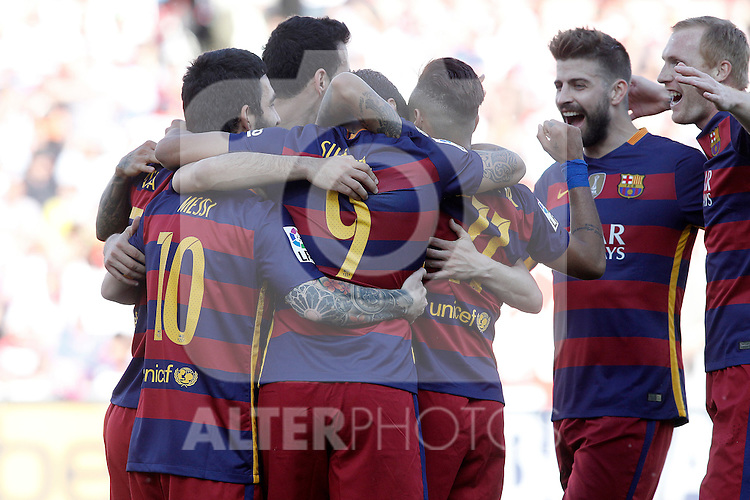 FC Barcelona's players celebrate goal during La Liga match. May 14,2016. (ALTERPHOTOS/Acero)