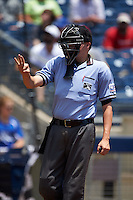 Umpire Matthew Czajak during a game between the Midland RockHounds and Tulsa Drillers on June 3, 2015 at Oneok Field in Tulsa, Oklahoma.  Midland defeated Tulsa 5-3.  (Mike Janes/Four Seam Images)