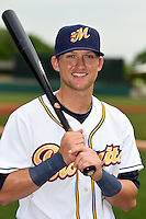 Montgomery Biscuits shortstop Jake Hager (2) poses for a photo before a game against the Mississippi Braves on April 22, 2014 at Riverwalk Stadium in Montgomery, Alabama.  Mississippi defeated Montgomery 6-2.  (Mike Janes/Four Seam Images)