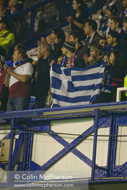 Greek fans inside Goodison Park, Liverpool for the UEFA Cup Group A match between AE Larissa and Everton. Everton beat the Greek team by three goals to one on the opening night of group matches in the UEFA Cup. It was the first meeting between the two clubs.