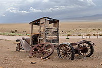 Pickup truck and Ione valley at <br /> Berlin-Ichthyosaur State Park in Nevada