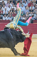 Bullfighter Cayetano Rivera gored by bull at La Misericordia bullround during the 5th bullfighting Fest in Zaragoza, NW of Spain on October 11, 2017.