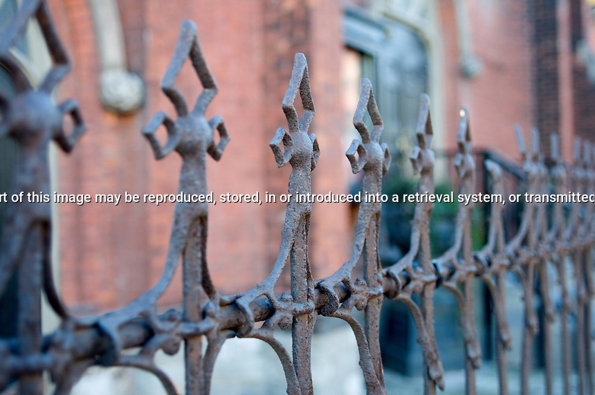 Wrought Iron Fence in  front of Berkeley Church Toronto Ontario Canada