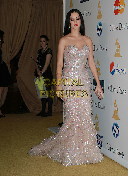 KATY PERRY .The 53rd Annual GRAMMY Awards - Salute To Icons Honoring David Geffen held At The Beverly Hilton Hotel,  Beverly Hills, California, USA, .12th February 2011..full length pale beige pink silver sequined sequin strapless dress long maxi gown fishtail clutch bag .CAP/ADM/KB.©Kevan Brooks/AdMedia/Capital Pictures.