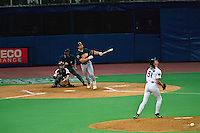 SEATTLE, WA - Mark McGwire of the Oakland Athletics hits one of the longest home runs in history off Seattle Mariners pitcher Randy Johnson during a game at the Kingdome in Seattle, Washington on June 24, 1997. (Photo by Brad Mangin)