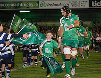 19th September 2014; <br /> Connacht captain John Muldoon leads his team onto the pitch with mascot Liam Connelly<br /> Guinness PRO12, Connacht v Leinster . <br /> The Sportsground, Galway. <br /> Picture credit: Tommy Grealy/actionshots.ie