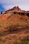 Capitol Reef National Park, Utah, UT, The Castle from the Visitor's Center, rock formation, landform, arid, Southwest America, American Southwest, US, United States, Image ut401-18132, Photo copyright: Lee Foster, www.fostertravel.com, lee@fostertravel.com, 510-549-2202
