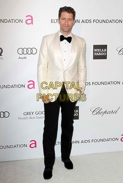 Matthew Morrison.21st Annual Elton John Academy Awards Viewing Party held at West Hollywood Park, West Hollywood, California, USA..February 24th, 2013.oscars full length black white tuxedo trousers jacket bow tie .CAP/ADM/KB.©Kevan Brooks/AdMedia/Capital Pictures.