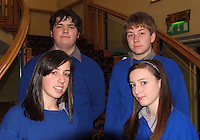 Pictured at the Launch of the Young Entrepeneur Blue Sky Day programme at the Brandon hotel in Tralee is Sean Murray, Racheal Evans, Shannan Daly, Darrenn Prendergast from Milltown Secondary School.<br />