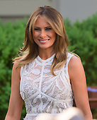 "First lady Melania Trump arrives prior tp United States President Donald J. Trump presenting the Presidential Medal of Freedom to professional golfer Tiger Woods in the Rose Garden of the White House in Washington, DC on May 6, 2019.  The Presidential Medal of Freedom is an award bestowed by the President of the United States to recognize those people who have made ""an especially meritorious contribution to the security or national interests of the United States, world peace, cultural or other significant public or private endeavor.""<br /> Credit: Ron Sachs / CNP"